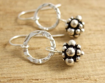 Earrings with Sterling Silver Bali Beads and Textured Loops CHE-297