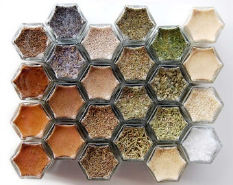 Artisan Baking Kit: 24 Organic Spices. Hand-Stamped Magnetic Spice Rack (1.5 oz jars) // Gift Idea for Mom