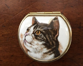 Vintage Italian Kitty Cat Pill Box