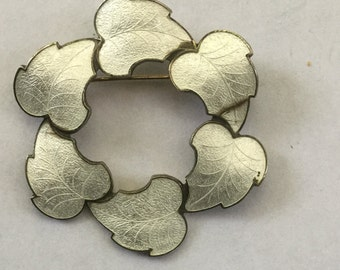 Vintage White Enamel Fall Leaf Pin 1960's