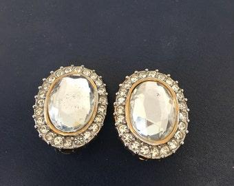 Vintage Joan Collins Rhinestone Earrings