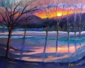 Original oil painting landscape, snowscape, winter scene, sunset in the snow, impressionist, colorful art