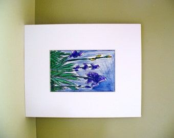 Iris Watercolor Flower Garden Floral Drawing Purple Yellow Green