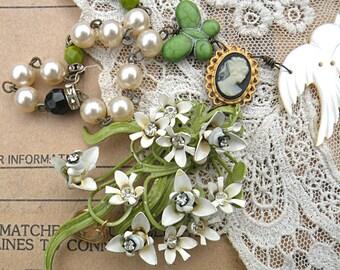 enamel flower necklace cameo assemblage bird goddess paperwhites romantic winter white floral