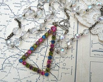 mod rosary assemblage necklace boho rhinestone pendant upcycle crystal