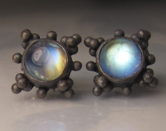 Rainbow Moonstone Earrings, Granulated Blue Moonstone Stud Earrings in Blackened Sterling Silver