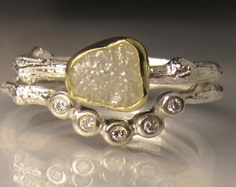 Raw Diamond Engagement Ring, Rough Diamond Twig Ring, Raw Wedding Set, 18k Gold and Sterling