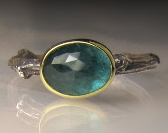 Rose Cut Blue Green Tourmaline Twig Ring, 18k Gold and Sterling Silver