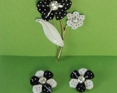 Vintage AVON Black and White Enameled, Rhinestones Flower Brooch And Earrings. Avon Demi-Parur. RESERVED