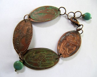 Pressed Copper Penny Charm Bracelet with Aged Patina, Repurposed California Souvenir Vacation Charms, Vintage Coin Bracelet, Smashed Pennies