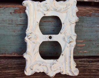 Vintage Shabby Plug in Cover Metal Plate French Chic French Provincial 1960s Distressed Antique White Hardware Decorative Display Hanging