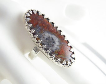 Sterling ring, silver ring, natural red stone, lace agate, long finger ring, statement,boho hippie, ethnic tribal, contemporary, handcrafted