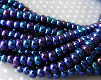 Czech Glass Beads 6/0 Blue Iris Strand of 150 Beads SB6-59135