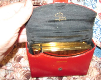 Fabulous Midcentury Red Leather Rex Fifth Avenue COMPACT Comb and LIPSTICK In Case
