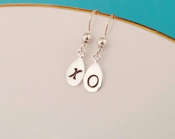 XO Love earrings. Sterling silver. Drop. Teardrop. Handstamped. Minimalist. Gift. Bridesmaid. Mothers day. Dainty. Valentines Day