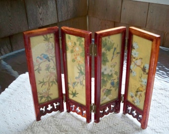 Vintage Collectible Souvenir Miniature Asian 4 Panel Screen Birds Flowers Mt Fuji