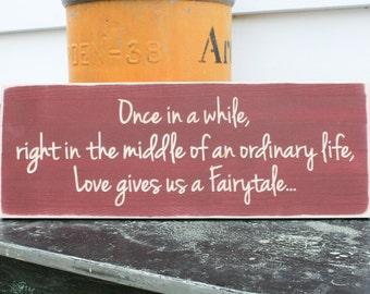 Once in a While Love Gives us a Fairytale Carved Distressed Rustic Wooden Sign - 8x20 Handpainted Love Wedding Anniversary Engagement Sign