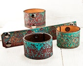 Turquoise Jewelry - Leather Cuff - Leather Bracelet - Leather Wristband - Leather Jewelry