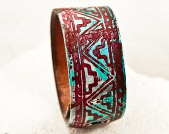Gypsy Chic Etsy Finds - Turquoise Jewelry Leather Cuff Tribal Bracelet - Bohemian Wristbands