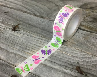 Washi Tape - 15mm - Green, Purple, & Pink Butterflies on White - Deco Paper Tape No. 451