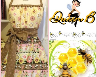 Handmade Bees woman's apron Bees apron Bees and honey apron