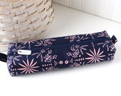 Navy Blue Cute Pencil Case Boxy Pouch Blue and Pink Zipper Pouch