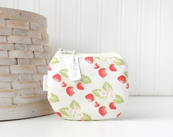 Red and White Strawberry Coin Purse Small Zipper Pouch Strawberry Change Purse