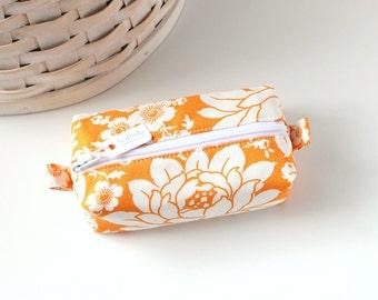 Small Boxy Pouch Bright Orange Floral Coin Purse Orange Change Purse Credit Card Holder