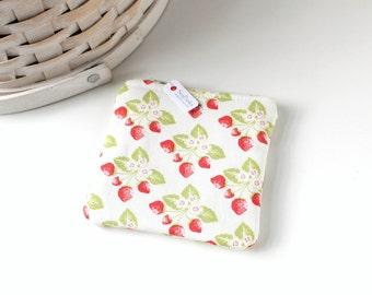 Red and Green Strawberries Coin Purse Floral Change Purse Floral Gift Card Holder