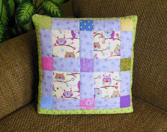 Ready to Ship - Whimsical Cute Hooty Owls Quillow pastel pink green blue purple - a personal quilt that folds into a pillow - HAND QUILTED