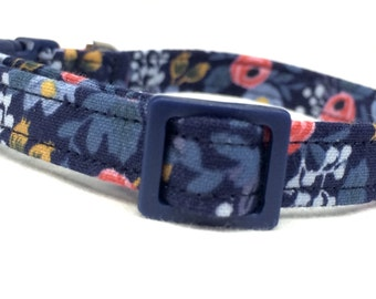Rifle Paper Co. Cat Collar Les Fleurs Fabric Rosa Floral Navy Flowers