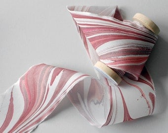 Marbled Silk Ribbon in Damson Red
