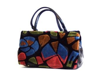 Vintage 60s Mod Op Art Handbag Velvet Fabric Abstract Atomic Print Carpet Bag Black Blue Red Geometric Pattern Pocketbook Large 1970s Purse