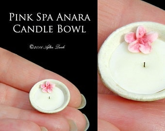 Luxury Tropical Pink Spa Candle Bowl - After Dark - Artisan fully Handmade Miniature in 12th scale.