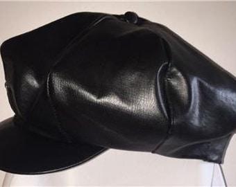 Vintage Amalgamated Clothing Textile Workers Union Newsboy Black Leather Hat Size Medium