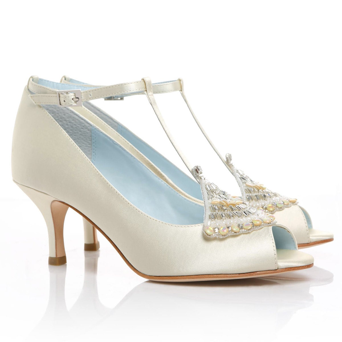 Low Heel Ivory Wedding Shoes With Art Deco Crystal Applique