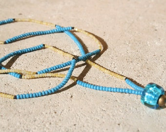 Teal and tan necklace