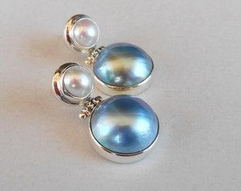 Sterling Silver blue Mabe Pearl Stud Earrings / Pearl jewelry / Silver 925 / Handmade Jewelry