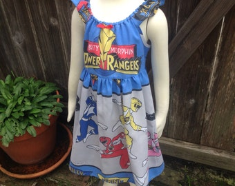 Mighty Morphin Power Rangers Dress Size 6 years Recycled