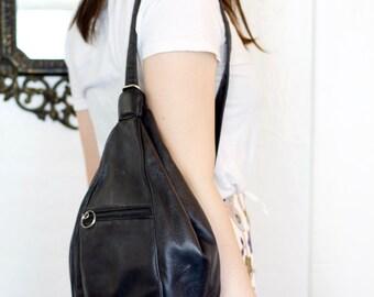 Vintage 90s Black Leather One Shoulder Athletic Backpack - Large 1990s Grunge Rocker Espirit Sports Bag