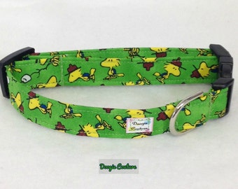 Woodstock Inspired Happy Camper Dog Collar Size XS through Large by Doogie Couture Pet Boutique