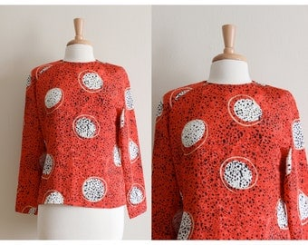 Vintage Red & Black Spotted Orb Print Blouse
