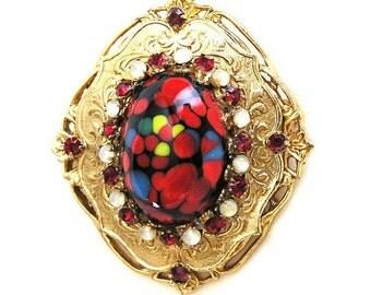 Hattie Carnegie Red Art Glass Brooch Pendant