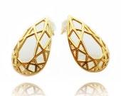 ON SALE Pear Shaped Earrings, Geometric Brass Earrings, Bridal Earrings, Stud Earrings, Contemporary Brass Earrings, Drop Shape Earrings, Fo