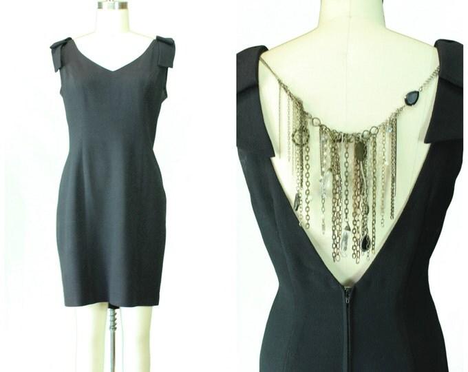 Vintage 1980s Women's Dress/ Vintage Little Black Dress/ Redesigned Vintage Dress/ Embellished 80's Black Dress/ 1980s Cocktail Dress