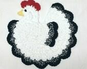 Chicken Potholder White & Black Country Farm Animal Crochet Cotton Pot Holder Hot Pad Trivet Kitchen Wall Decor Housewarming Gift