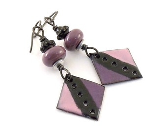Purple Tuxedo Enameled Earrings - Annealed Steel Earrings - Purple Black Earrings -Artisan Earrings - Boho Earrings - OOAK Earrings - AE019