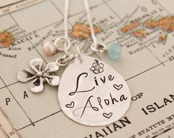 LIVE ALOHA Necklace, Plumeria Necklace, Hawaiian Jewelry, Hand Stamped Necklace, Personlized Jewelry