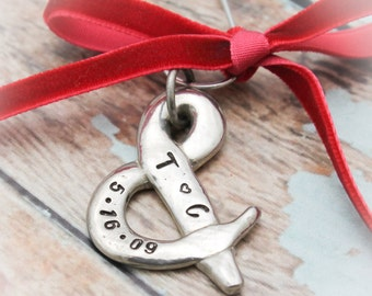 Couples Heart Christmas Ornament Personalized Hand Stamped in Pewter