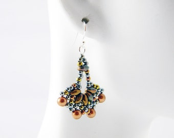 """READY TO SHIP Sage and Bronze Superduo Beadweaving Earrings """"Little Frills"""""""